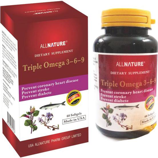 TP bảo vệ sức khỏe Triple Omega 3-6-9: Giúp giảm cholesterol, triglycerid máu